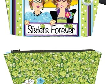 "Quick! SISTERS FOREVER Pouch KIT- Fabric Printed on one 10"" x 12"" Art Panel"