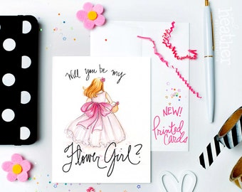 NEW-PRINTED Flower Girl card-Will you be my Flower Girl? Card, Blonde Flower Girl, Flower Girl Proposal
