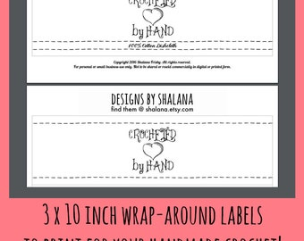 Printable PDF Crochet Dishcloth Label Wrappers - Crocheted by Hand with a Heart 3 x 10 inch labels to wrap around your handmade products