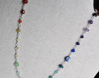 Gemstone Rainbow Jewelry Chakra Power Necklace or Wrap Bracelet Handmade Yoga Meditation Silver Chain Adjustable Shimmer Shimmer