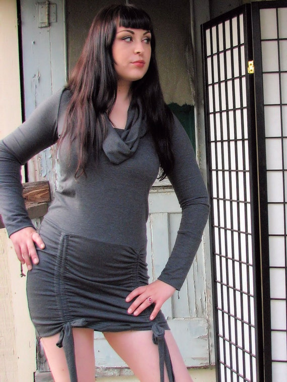 Hooded Cowl Dress with adjustable skirt