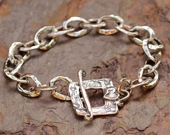 Signature Chunky Links Sterling Silver Bracelet with Heart Toggle BR-301