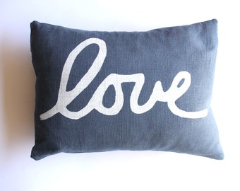 Navy Blue Love Pillow - Square Love Throw Pillow - Blue and White Love Pillow Cover - Hand Printed decorative pillow