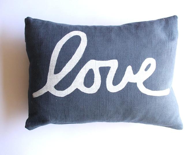 Navy Blue Love Pillow