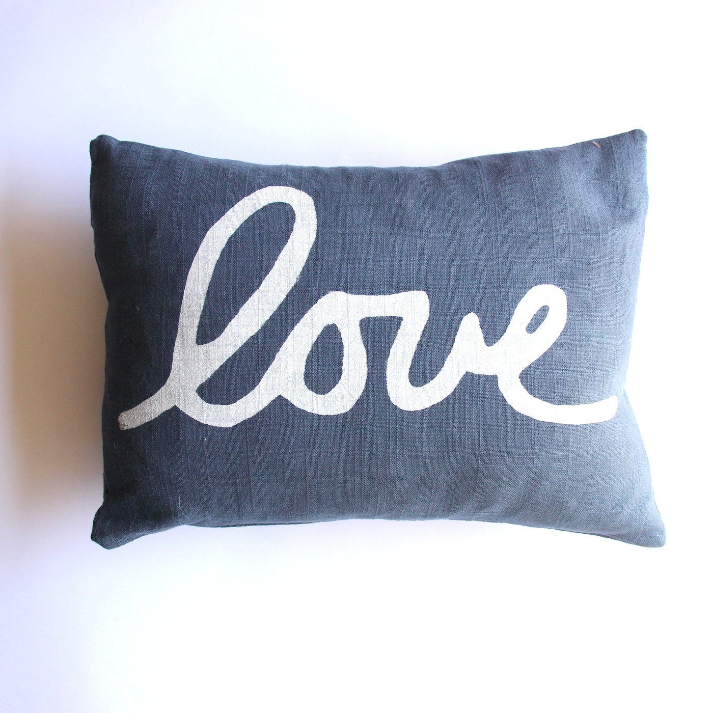 Throw Pillow Love : Navy Blue Love Pillow Square Love Throw Pillow Blue and