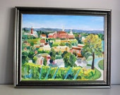 Original Oil Painting, Hermann, Missouri, Plein Air Painting, Fine Art, Landscape, Small Town America 16x20 on Canvas, Framed Wall Hanging