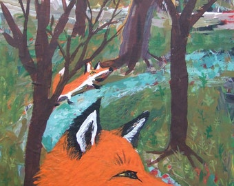 Original Fox Art Painting - Forest Woods and Creek - Folk Outsider Abstract Fox Artwork Wall Decor