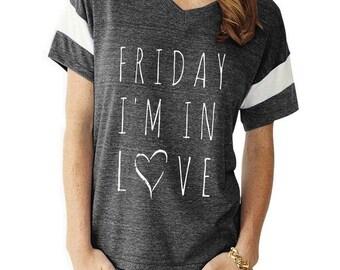 Friday I'm In Love boho slouchy Powder Puff t shirt tshirt screenprint ladies scoop top