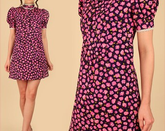 ViNtAgE 60's Mini Dress Rose Print Floral Navy Blue PInk MoD Babydoll Dolly Scooter Dress Small S