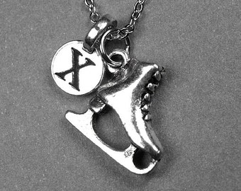 Ice skate necklace, ice skate charm, figure skate necklace, skating necklace, personalized necklace, personalized jewelry, initial necklace