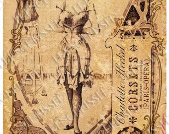 Charlotte's Corsets Art Nouveau Grunge Shabby Chic French Lingerie Postcard Instant Download Personal Use