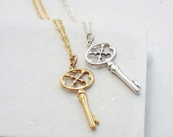 Skeleton Key Necklace | Key Charm Necklace | Charm Pendant Necklace | Key Necklace | Silver or Gold