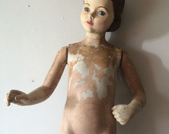 Antique Store Mannequin Display Plaster Toddler Child Size Complete Creepy Chippy 1930's