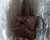Leather Bow Petite Handbag in Chocolate Brown Distressed Leather by Stacy Leigh