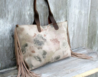 Leather -  Tote Bag - in Vintage Floral Leather - with Fringe - by Stacy Leigh
