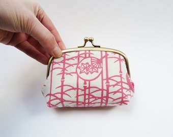 Coin purse, pink and cream fan design, Japanese cotton purse