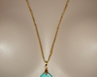 """Faux Turquoise Cross Necklace Goldtone 33"""" Chain inv1516"""