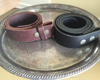 Genuine leather belts for buckles in brown and black