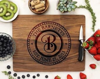 Personalized Cutting Board, Custom Cutting Board, Engraved Cutting Board, Engagement, Housewarming Walnut Wood --21080-CUTB-002