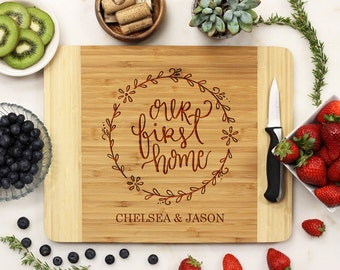 Personalized Cutting Board, Custom Cutting Board, Engraved Cutting Board, First Home Housewarming Wedding Gift Bamboo Wood --21120-CUTB-001