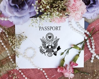 Clear mounted Passport rubber stamp measures 2 x 3 --5692