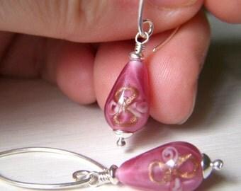 Floral Lampwork Earrings, Teardrop Earrings, Vintage Czech Glass Rose Pink Dangle, Sterling Silver Drop, Rosebud Flower Earrings