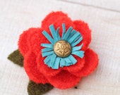 Recycled Wool Flower Brooch in Bright Orange and Turquoise