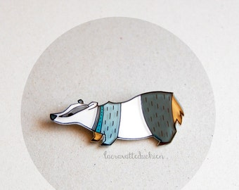 Badger brooch, woodland animal jewelry, illustrated acrylic