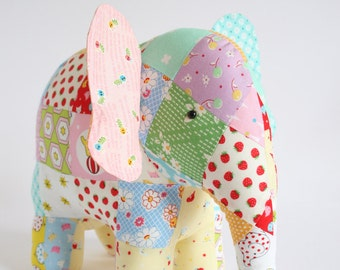 Trunk Show: elephant sewing pattern, patchwork elephant, elephant pattern, elephant toy, elephant plush, elephant softie, soft toy elephant,