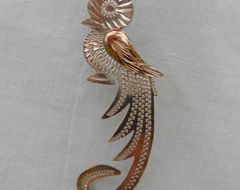 Vintage Late Sixties Sterling Silver and Brass Etched Guatemalan Quetzal Bird Pin / Brooch / Mid Century Mixed Metals Central America