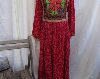 vintage 60s Caftan Mirror embroidery festival dress Ethnic Vintage Kaftan dress Vintage India mirror hippie Maxi dress S M