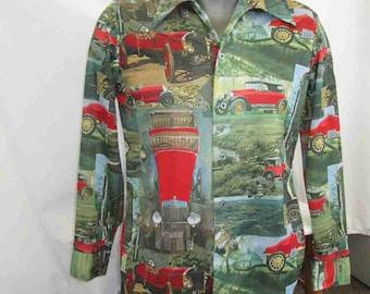 Vintage Cars 70s Shirt Vintage 1920s Cars disco knit shirt Vintage Car show vintage shirt Polyester knit shirt M