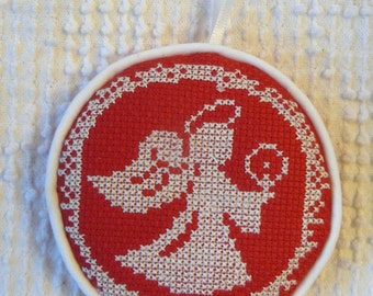 Vintage Embroidered Angel Christmas Ornament - Beautifully Cross Stitched in White on Red