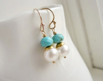 Turquoise and pearl earrings Bridesmaid gift for her Turquoise earrings silver or gold dangle earrings Dainty bridesmaid earrings