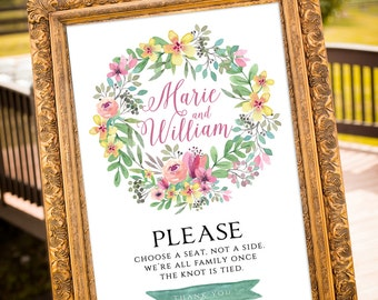 PRINTABLE Choose a seat not a side sign, Ceremony Seating, Romantic Wedding Decor, Wedding Sign, Watercolor Floral Wreath, Summer Weddings