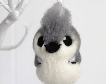 Tufted Titmouse Bird Needle Felted Hanging Decoration