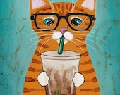 Ginger Coffee Cat - Cat Folk Art Print 8x10, 11x14