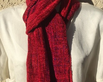 Hand woven scarf  Berry RED with purple