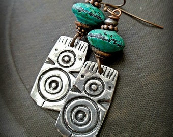 Shield, African, Primitive, Organic, Pewter, Silver, Rustic,Tribal, Enameled Glass, Southwest, Beaded Earrings