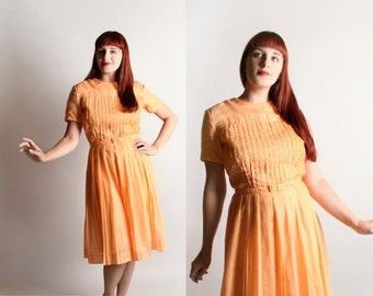 Vintage 1960s Cotton Dress - Peach Apricot Sheer Cotton Pintuck Bodice Day Dress - Medium