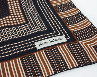 Pierre Balmain 1970's Vintage Silk Black Brown and White Graphic French Designer Scarf