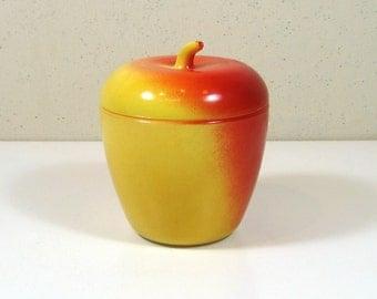 Hazel Atlas Milk Glass Apple Trinket or Condiment Jar Jam Jelly