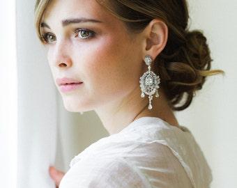 "Large Bridal Chandelier Earrings with Posts | Pearl & Crystal Art Deco, Edwardian, Vintage-Inspired Earrings |  ""Lilliane"""