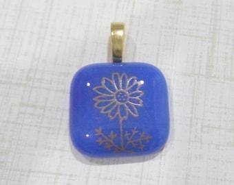 Cobalt Blue Pendant, Gold Flower, Fused Glass Pendant, Omega Slide, Large Gold Bail - Golden Daisy - -5