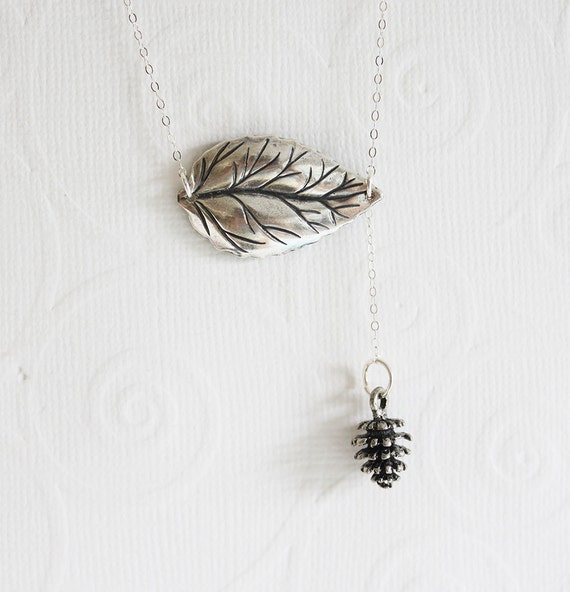 Silver Leaf Necklace Leaf Pinecone Necklace Woodland Jewelry Leaf Necklace