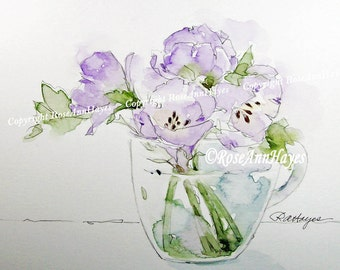 Original Watercolor Painting Bouquet of Lavender Flowers in Glass Cup Floral Garden