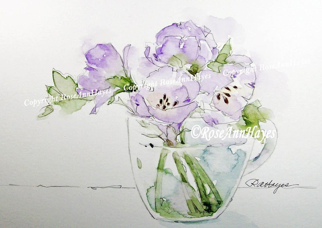 original peinture laquarelle bouquet de fleurs de lavande. Black Bedroom Furniture Sets. Home Design Ideas