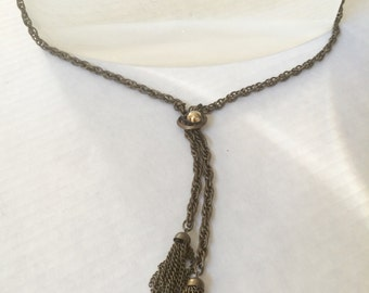Vintage 30's Spiral Links Chain & Tassel Necklace, Burnished Brass, Steampunk, Goth