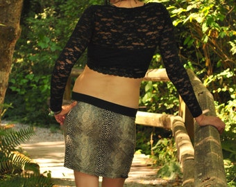 Reptilian Print Pocket Skirt, Mini skirt,