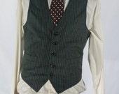 Men's Suit Vest / Vintage Grey Pinstripe Waistcoat / Size 38 Medium